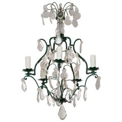 French Vintage Crystal Chandelier with Painted Frame