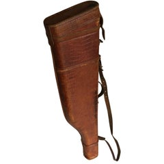 "French Vintage Faux Croc Leather Leg Of Mutton Gun Case, ""Manufacture Francaise"""