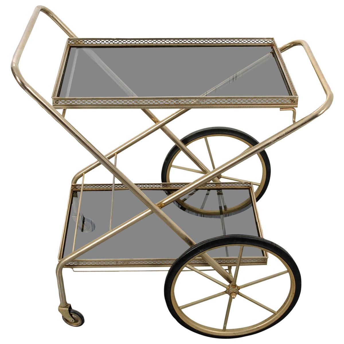French Vintage Folding Brass Bar Cart