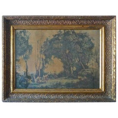 French Vintage Framed Print of a Morning, Dance of the Nymphs by JB Corot