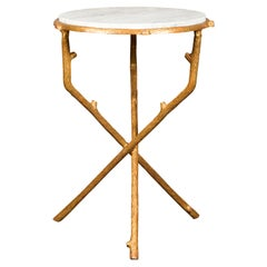 French Vintage Gilt Metal Side Table with Faux Bois Style Legs and Marble Top