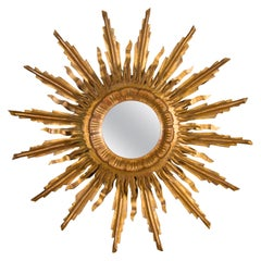 French Vintage Giltwood Midcentury Convex Sunburst Mirror with Wavy Rays