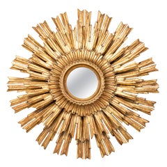 French Vintage Giltwood Three-Layered Sunburst Mirror with Small Mirror Plate