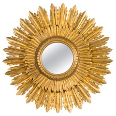 French Vintage Giltwood Two-Layer Sunburst Mirror with Small Mirror Plate