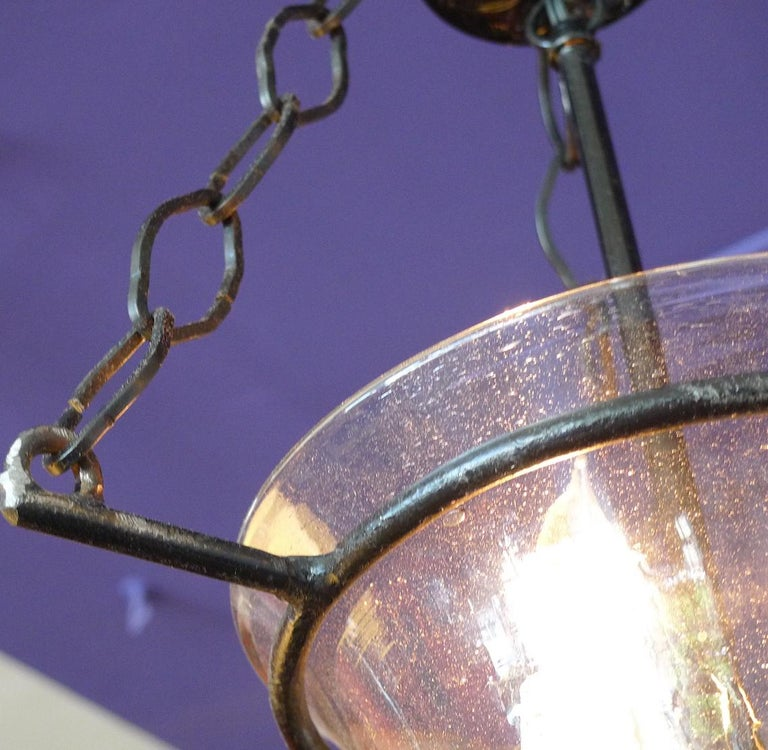 French Vintage Glass Bell Jar Pendant with Iron Fittings and 3 Centre Lights For Sale 8