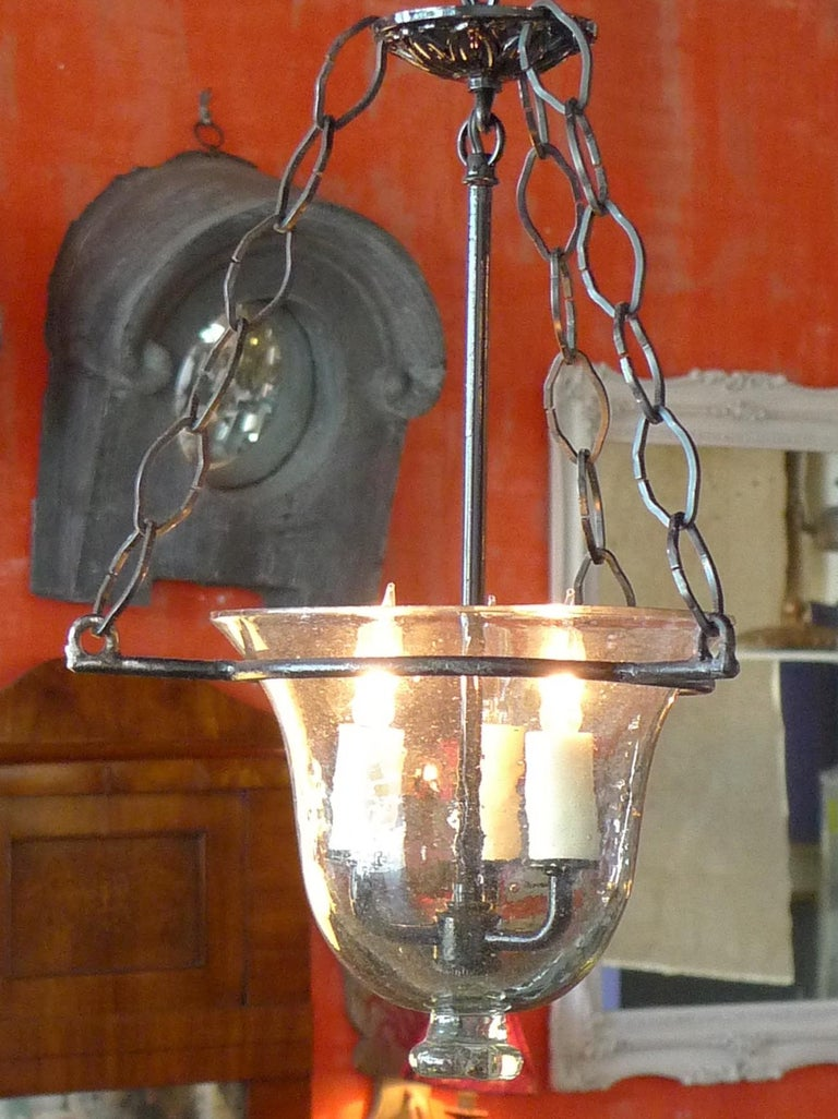 French Vintage Glass Bell Jar Pendant with Iron Fittings and 3 Centre Lights In Good Condition For Sale In Santa Monica, CA
