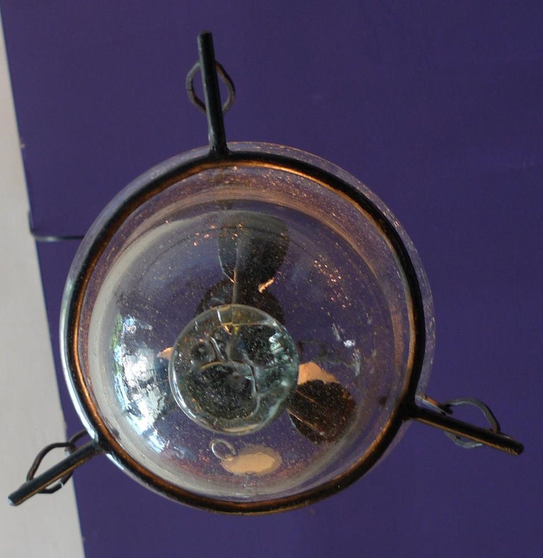 French Vintage Glass Bell Jar Pendant with Iron Fittings and 3 Centre Lights For Sale 3
