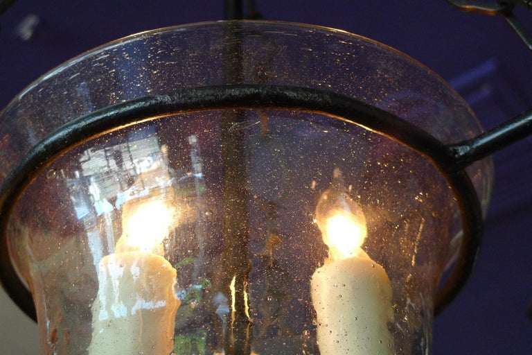 French Vintage Glass Bell Jar Pendant with Iron Fittings and 3 Centre Lights For Sale 4