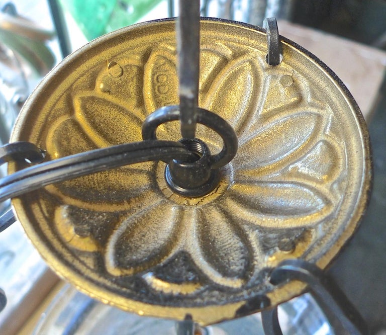 French Vintage Glass Bell Jar Pendant with Iron Fittings and 3 Centre Lights For Sale 5