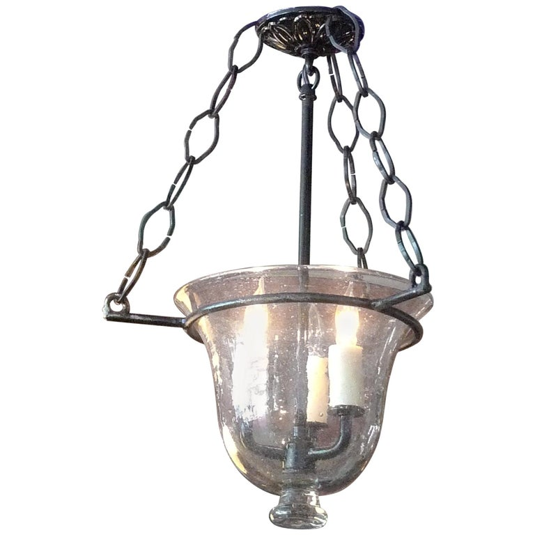 French Vintage Glass Bell Jar Pendant with Iron Fittings and 3 Centre Lights For Sale