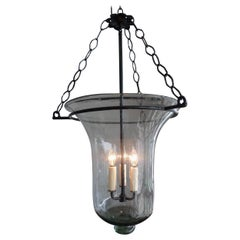 French Vintage Glass Bell Jar with Wrought Iron Fittings and 3 Centre Lights.
