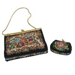 French Vintage Gobelin Set of Clutch Handbag and Coin Purse, circa 1920