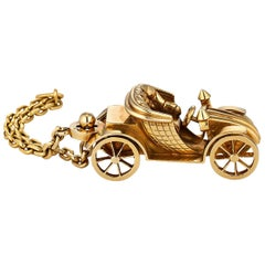 French Vintage Gold Handmade Antique Car Key Chain
