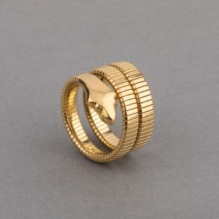French Vintage Gold Snake Ring  Very lovely snake ring, made in France Circa 1970.  18k gold, hallmark for gold (the eagle). Size 51 europe or 5.5 Us, sizeable Total weight 12.90 grams