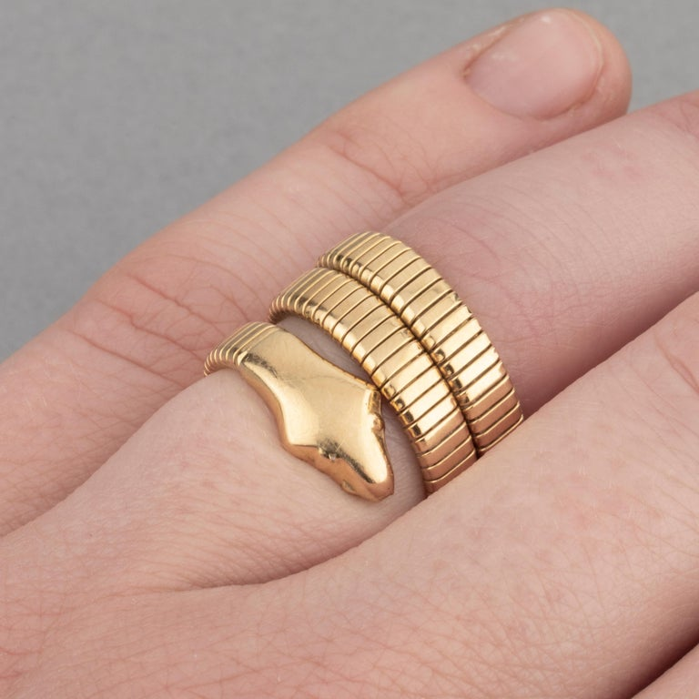 French Vintage Gold Snake Ring In Good Condition In Saint-Ouen, FR