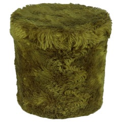 French Vintage Green Pouf Vanity Stool, 1970s