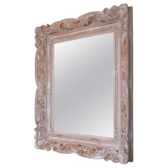 French Vintage Hand Carved Wood Framed Mirror with New Mirror Glass