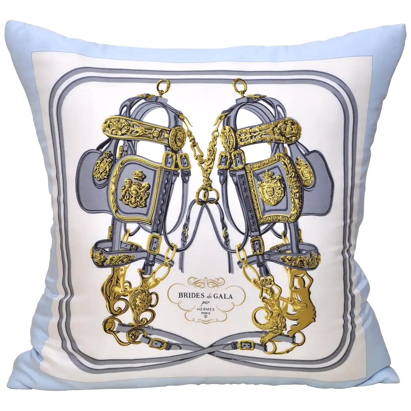 French Vintage Hermes Silk Scarf and Irish Linen Cushion Pillow Blue Gold
