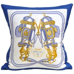 French Vintage Hermes Silk Scarf and Irish Linen Cushion Pillow Rare Purple Blue