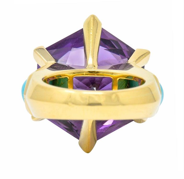 Hexagon Cut French Vintage Hexagonal Amethyst Turquoise 18 Karat Gold Statement Ring