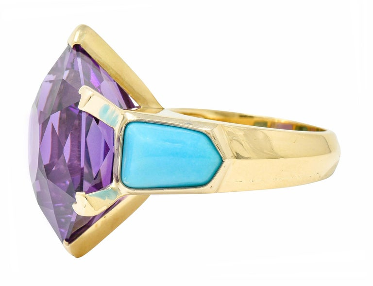 French Vintage Hexagonal Amethyst Turquoise 18 Karat Gold Statement Ring In Excellent Condition In Philadelphia, PA
