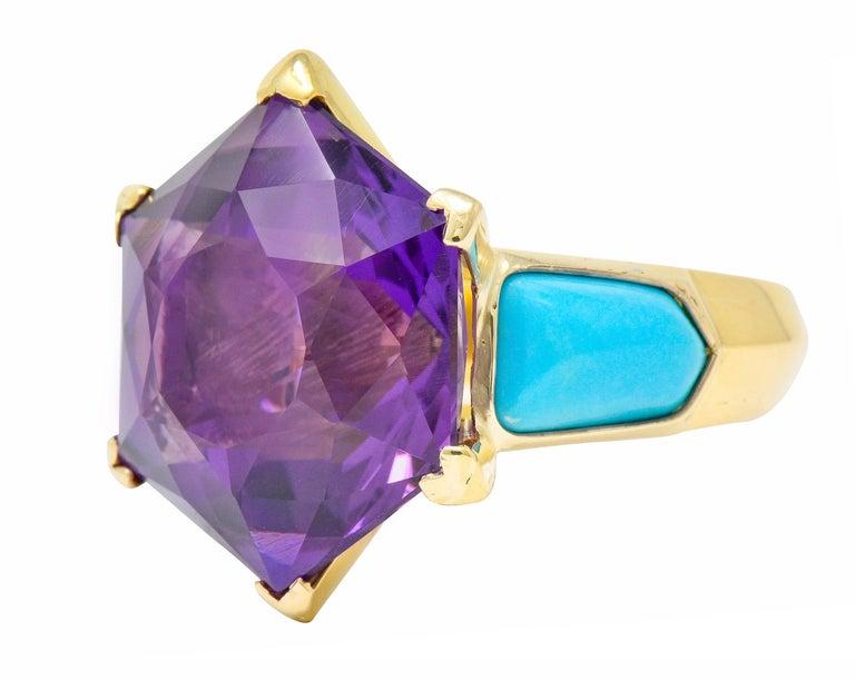 Women's or Men's French Vintage Hexagonal Amethyst Turquoise 18 Karat Gold Statement Ring