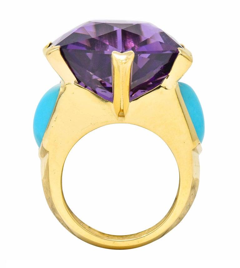 French Vintage Hexagonal Amethyst Turquoise 18 Karat Gold Statement Ring 1