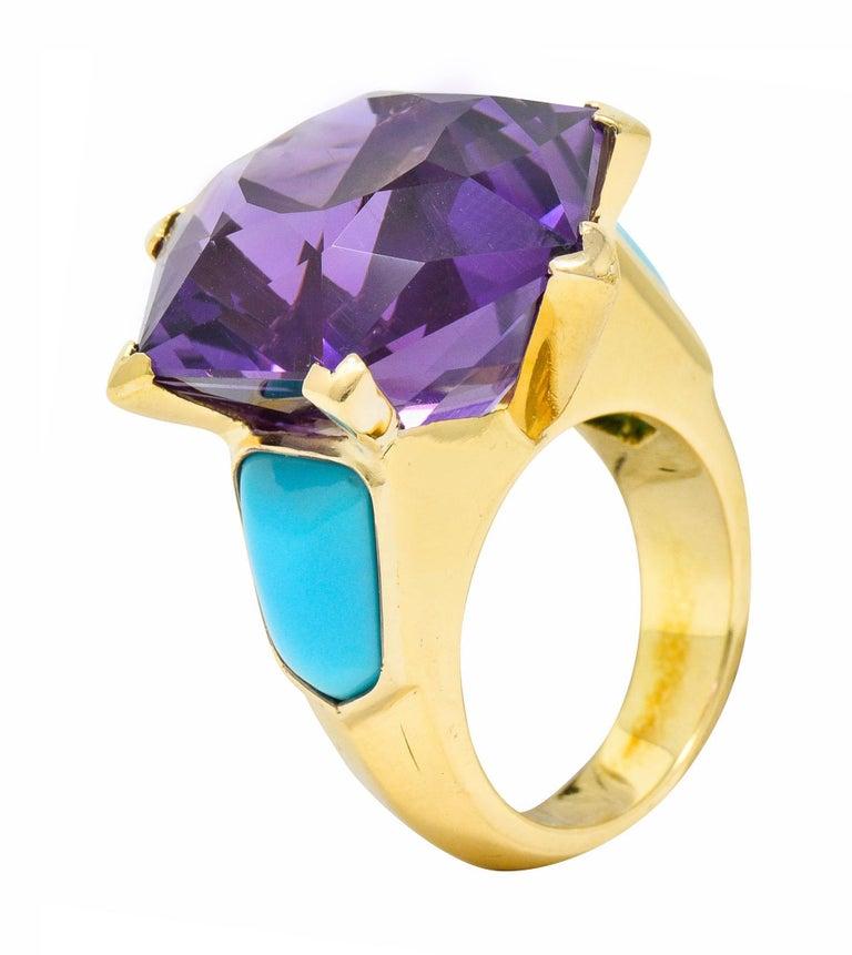 French Vintage Hexagonal Amethyst Turquoise 18 Karat Gold Statement Ring 2