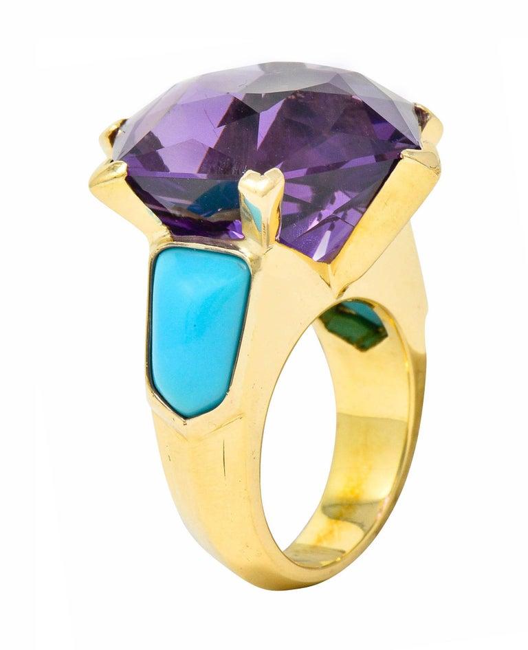 French Vintage Hexagonal Amethyst Turquoise 18 Karat Gold Statement Ring 3