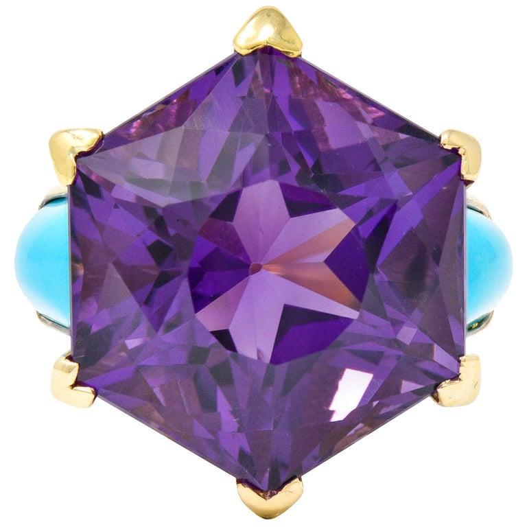 French Vintage Hexagonal Amethyst Turquoise 18 Karat Gold Statement Ring
