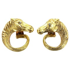 French Vintage Horse Head Diamond 18 Karat Yellow Gold Earrings