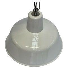 French Vintage Industrial Big White Round Enameled Pendants