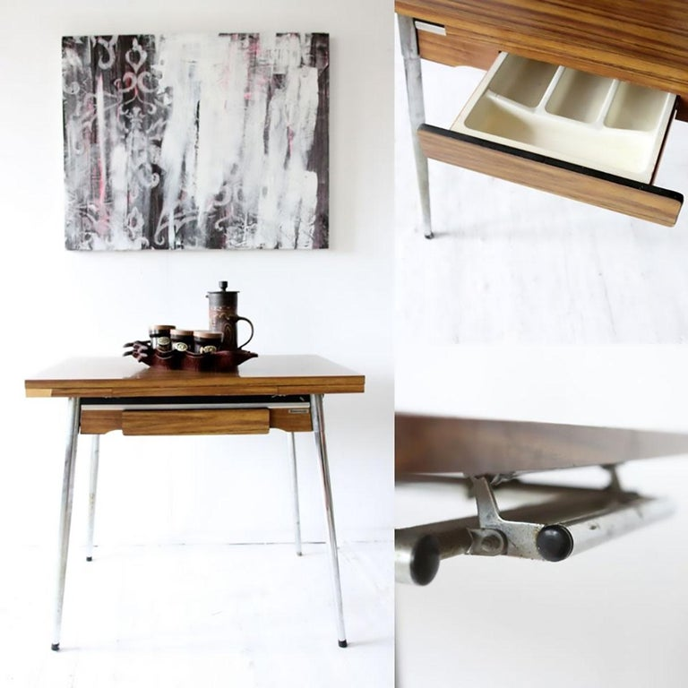 French Vintage industrial Formica and chrome extending kitchen table by  Supermat