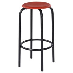 French Vintage Industrial Red and Black Stool, 1950s