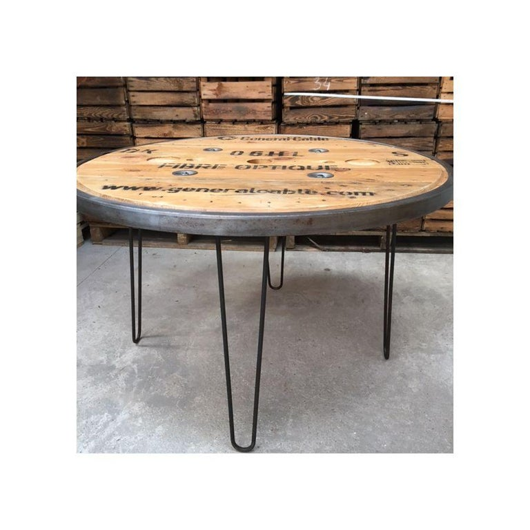 Varnished French Vintage Industrial Round Diner Table For Sale