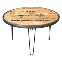 French Vintage Industrial Round Diner Table