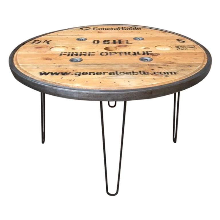 French Vintage Industrial Round Diner Table For Sale