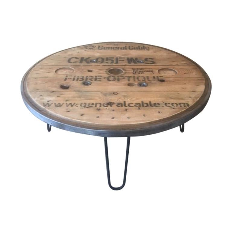 French Vintage Industrial Round Table For Sale
