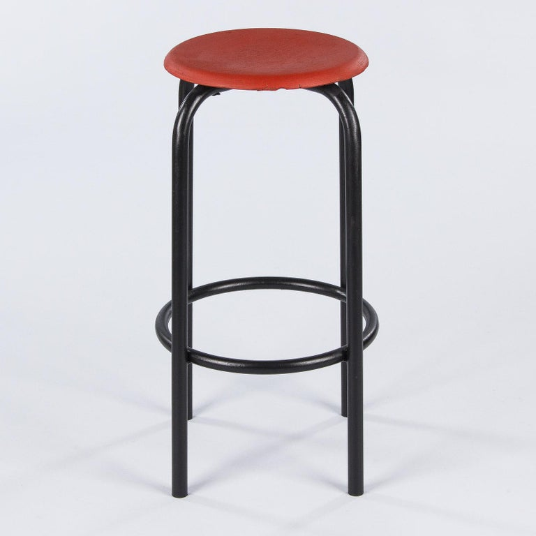 French Vintage Industrial Red and Black Stool, 1950s 5