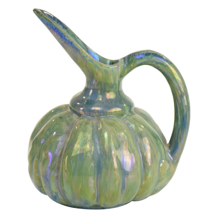 French Vintage Iridescent Art Nouveau Ceramic Jug By