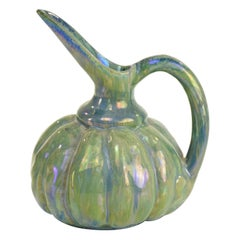 French Vintage Iridescent Art Nouveau Ceramic Jug by Alphonse Cytere, 1910