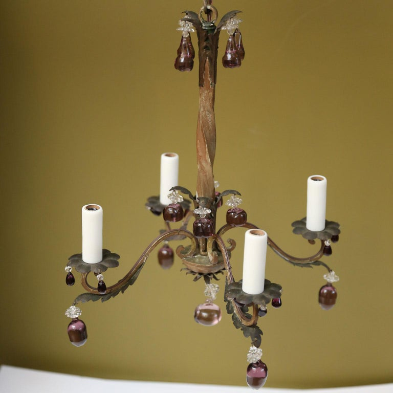 Forged French Vintage Iron and Crystal Chandelier With Amethyst-Colored Drops For Sale