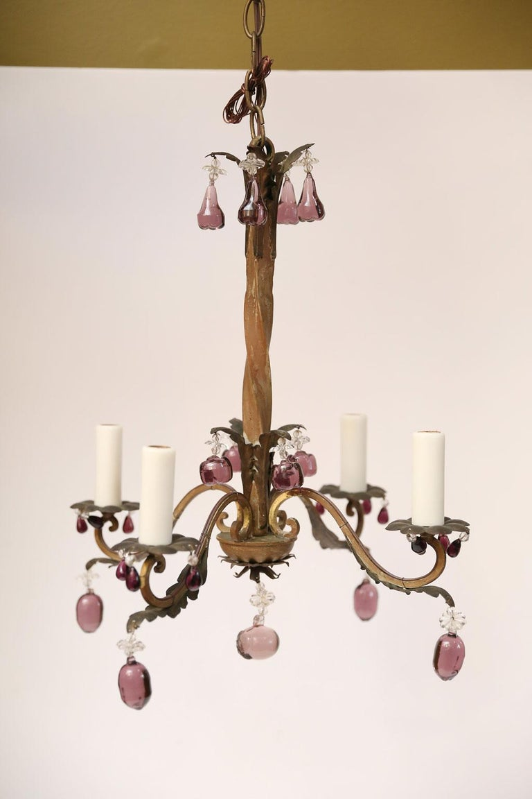 French Vintage Iron and Crystal Chandelier With Amethyst-Colored Drops In Good Condition For Sale In Houston, TX