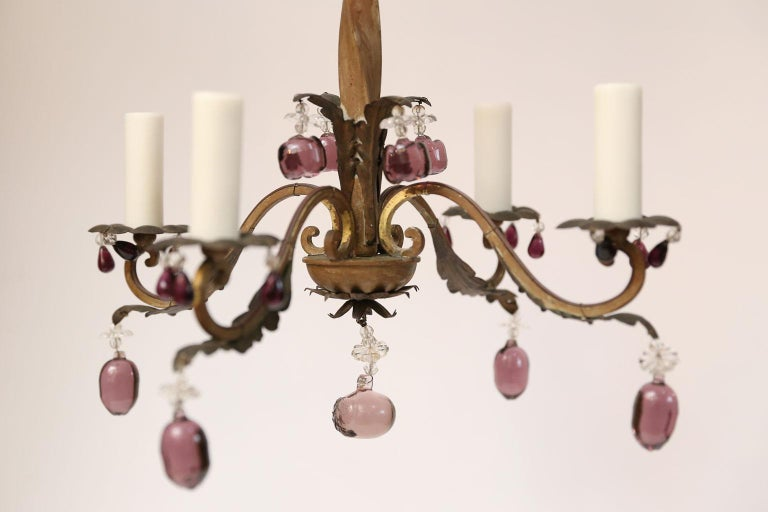Mid-20th Century French Vintage Iron and Crystal Chandelier With Amethyst-Colored Drops For Sale