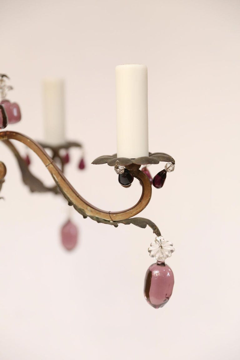 French Vintage Iron and Crystal Chandelier With Amethyst-Colored Drops For Sale 1