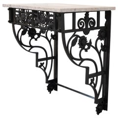 French Vintage Iron Wall Bracket Console Table