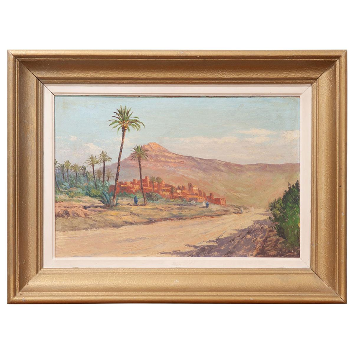French Vintage Landscape Painting on Board