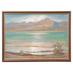 French Vintage Landscape Painting on Canvas