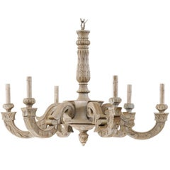 French Vintage Lovely Carved and Painted Wood Six-Light Chandelier in Soft Grey
