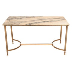 French Vintage Marble and Brass Cocktail Table